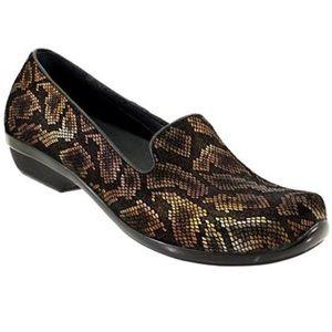 Dansko suede leather snake print low top clog
